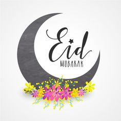 Eid mubarak background with yellow and pink flowers Premium Vector
