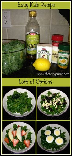 Basic Easy Tasty Kale Recipe with Many Add On Options    Here's basic, easy kale recipe that has many options for adding in different ingredients during the week. Make one big bowl of Kale at the beginning of the week and get multiple servings out of it.