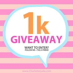 1K GIVEAWAY!  It's that time again! As a huge thank you to all you amazing friends helping us reach our goal of 1000 followers we are hosting a giveaway away with three prizes up for grabs. 2 prizes are available through Instagram and 1 prize through our Facebook group.  All you have to do to enter is: 🔹1 Follow @CharlotteLaila 🔹2 Tag a friend in the comments. (tag as many friends as you like in the comments, you need a minimum of one friend tagged to be entered in the giveaway)  Winner…