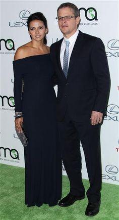 Luciana Barroso and husband Matt Damon attend the Environmental Media Awards in Los Angeles on Oct. 19, 2013.