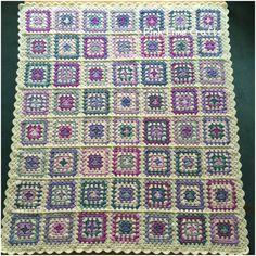 Beautiful handmade crochet granny square blanket by PinkLimeCrafts