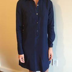 Silk shirt dress Beautiful navy silk shirt dress in EUC. Size 4 perfect for work ! Martin and osa  Dresses
