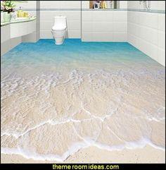 floor wallpaper bathroom floors 3D sea beach floor 3d mural PVC wallpaper