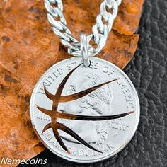 Basketball Necklace Hand Cut from a US coin by NameCoins on Etsy