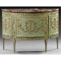 A PIEDMONTESE DEMI-LUNE CARVED AND PAINTED WOOD COMMODE, LAST QUARTER 18TH CENTURY;