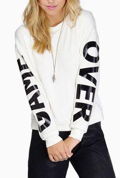 Casual Jewel Neck Letter Printed Long Sleeve Sweatshirt For Women