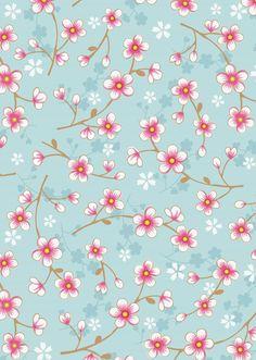 Afbeelding van Cherry Blossom behang blauw