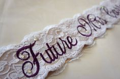 Purple Lace Bridal Sash - Purple, White and Champagne Bachelorette Sash - Customizable Bacelorette Sash on Etsy, $49.00