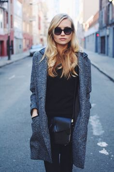 @Jessi de Bergerac  /  long legged lady in the Amatoria Wool Coat with Leather Details