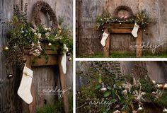 Christmas Mini-Session - Holiday Portraits - Rustic Session - Christmas Mantel - Outside Free Standing Mantel - Christmas Session @Ashley Turner {A Photo by Ashley}
