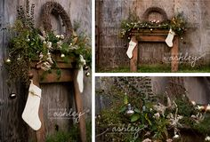 Christmas Mini-Session - Holiday Portraits - Rustic Session - Christmas Mantel - Outside Free Standing Mantel - Christmas Session @Ashley Turner {A Photo by Ashley}