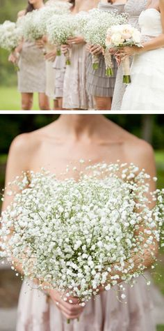 Baby's breath bouquets for bridesmaid...breathtaking and I love the white roses for the bride's bouquet
