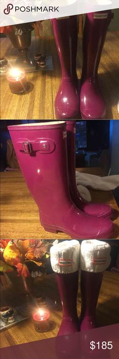 Hunter plum huntress boots Pre loved huntress Hunter boots. Perfect color for fall/ winter! Great used condition as I took very good care of them. Buckle looks a little worn and a slight smudge on side (see pic 2) hardly noticeable flaws. Will sell cream hunter socks with boots. Hunter Boots Shoes Winter & Rain Boots