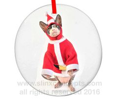 "Keepsake Collectors Item Custom Cat Ornament Sphynx Cat Christmas Ornament Personalize Sphynx Cat Custom Holiday Ornament. ""Jelly Belly."" by SimplySphynx"