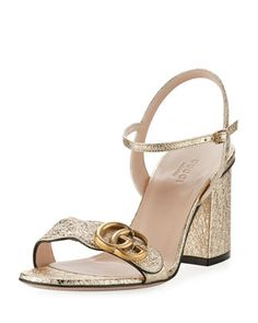 Marmont+Metallic+City+Sandal,+Gold+by+Gucci+at+Neiman+Marcus.