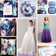 Turquise and purple wedding :) omggg I would love this except the brides dress needs more bling