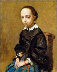 """The missing artwork, """"Portrait of a Girl,"""" an oil by Jean-Baptiste-Camille Corot"""