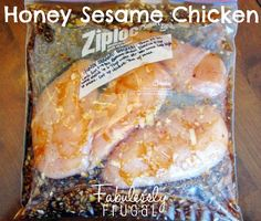 Honey Sesame Chicken recipe for the slow cooker! Works well as a freezer meal too.