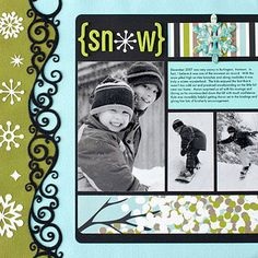 Single Page Layout 3 Photos Can easily make into double page layout Snowboarding Layout - like the border