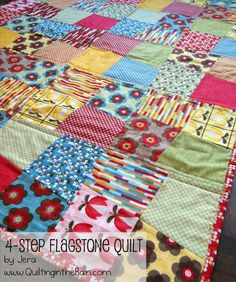 4-Step Flagstone Quilt-by Jera Brandvig... one big quilt measuring 54.5″x63.5″ One  Layer Cake (you will need all 42 squares) OR  For two smaller quilts measuring 36.5″x45.5″ each--One  Layer Cake (each quilt uses 20 squares)
