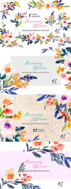 Morning Bloom-Watercolor Floral Set. Wedding Fonts. $22.00