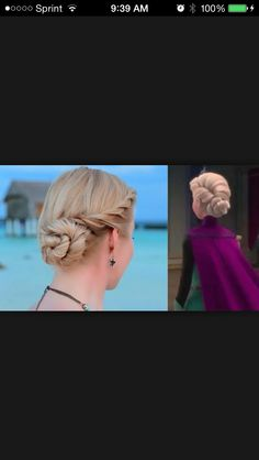 Elsa  I usually pull the hair from the other side like Elsa tho