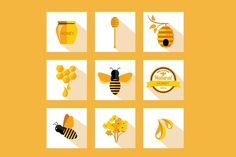 9 Icons honey&bee by Barcelona Design Shop on Creative Market