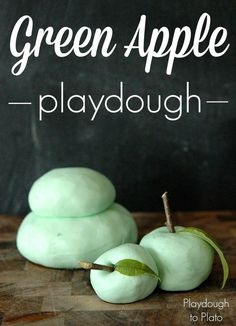 2 Ingredient DIY Green Apple Playdough Recipe. Squishy, soft and smells AH-mazing!! Perfect for fall and back to school.
