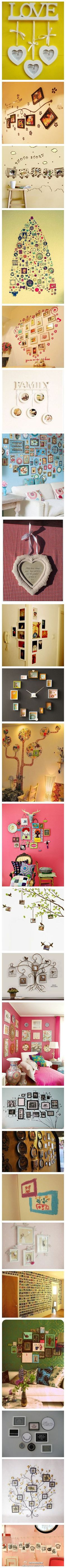 Ideas for decorating the home. Picture placements etc. So very cute! I love it.