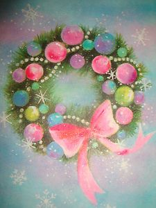 Vintage Glitter Christmas Card...Wreath...Ornaments...Pink Bow !!! Pretty !!! $4.99
