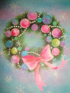 Vintage Glitter Christmas Card...Wreath...Ornaments...Pink Bow !!! Pretty !!! $4.99