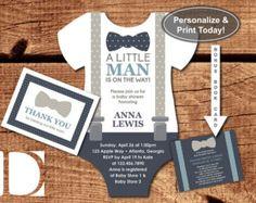 Little Man Baby Shower Invitation Onesie by DeReimerDeSign on Etsy