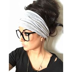 Gray Scrunch Headband Extra Wide Headband Jersey Headband Extra Wide... ($26) ❤ liked on Polyvore featuring accessories, hair accessories, black, headbands & turbans, stretch headbands, black turban headband, black hair accessories, head wrap headband and stretchy headbands