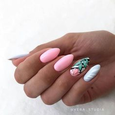 What manicure for what kind of nails? - My Nails Tropical Nail Designs, Nail Designs Spring, Nail Art Designs, Tropical Nail Art, Vernis Rose Gold, Spring Nails, Summer Nails, Fall Nails, Cute Nails
