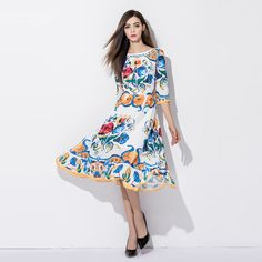 >> Click to Buy << Luxury Dress 2017 Summer Casual New Fashion Half Sleeve Flower Porcelain Printed Backless Dress #Affiliate