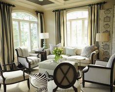 zebra print decor in neutral living room - 2013 Hominspire.com   Home Decorating Ideas and Interior Design Inspiration