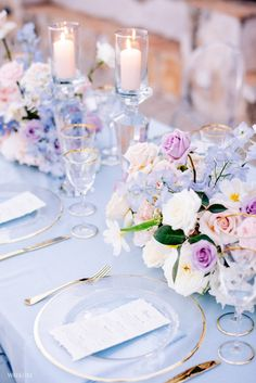 Periwinkle Wedding, Blue Wedding, Wedding Table, Floral Wedding, Wedding Colors, Dream Wedding, Wedding Day, Pastel Wedding Theme, Fairytale Wedding Themes