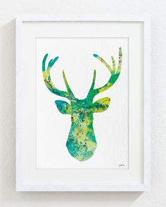 Green, Blue, Yellow Deer Watercolor Print - 5x7 Archival Print - Deer Painting - Deer Art Print - Wall Decor Art Home Decor Housewares