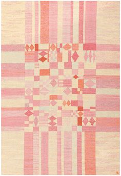 Kilim, Sweeden, circa mid-20th century | An abstractly woven patchwork assortment of squares, rectangles and diamonds colored in highly contrasting shades of light yellow, warm pink, soft orange and exuberant vermillion draws the eye to the densely patterned center of the rug