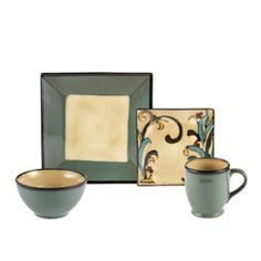 Square Blue Leaves Dinnerware Set ~C