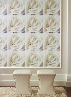 Striking graphic wallpaper for the modern living room http://lelandswallpaper.com. Rose graphic by Candice Olson. Width: 18 in, Repeat: 18 in, Length: 18 ft (SINGLE ROLL)  unpasted, washable, strippable  squares of white rose blooms make amazing graphic wall $69.99 per single roll