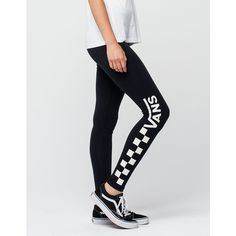 Vans Chalkboard Womens Leggings ($29) ❤ liked on Polyvore featuring pants, leggings, graphic print leggings, elastic waist pants, checked trousers, checked pants and checkerboard leggings