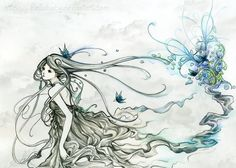 Running away from blue - 55 Beautiful Anime Drawings  <3 !