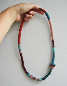 Teal-turquoise-rust pink tribal long tribal necklace by pompom design, via Flickr