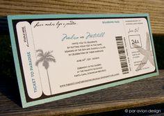Custom boarding pass wedding invitation set for a destination wedding in Punta Cana, Dominican Republic (by par avion design)    www.paraviondesign.com / www.facebook.com/paraviondesign
