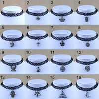 New Handmade Vintage Gothic Choker Tattoo Necklace Women With Antique Silver Plated Owl/Hamsa/Butterfly Necklaces Pendants 2015