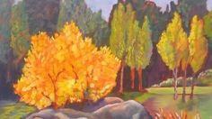 "Maureen Lawrentin, ""Autumn on the Murrumbidgee"" in Strathnairn 2015 members' exhibition."