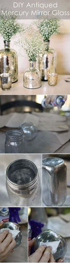 DIY Antiqued Mercury Mirror Glass Wedding Centerpieces