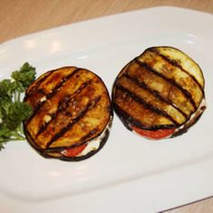 Grilled Eggplant, Tomato and Goat Cheese - I LOVE eggplant and goat cheese so this has to be good!