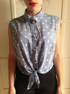 PRIMARK Light blue cropped pois shirt pinup blouse top floral buttons 60s by Madeleinette on Etsy